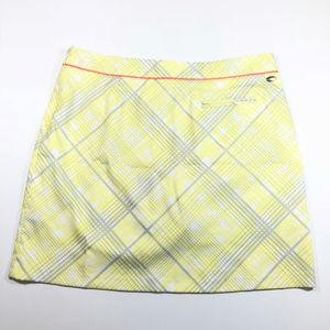 Greg Norman Yellow Grey Plaid Golf Skort Skirt